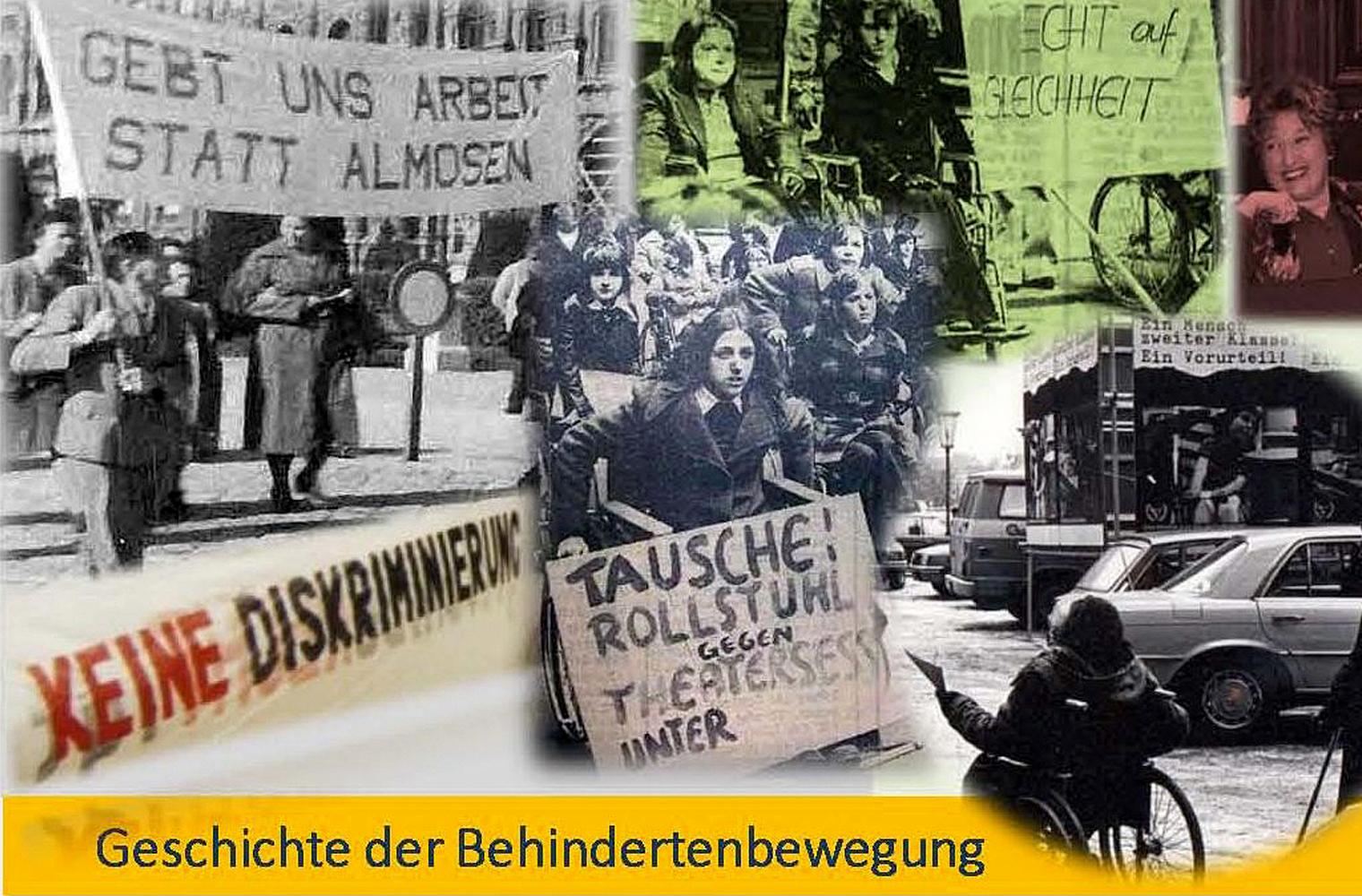 Collage mit verschiedenen Fotos aus der Geschichte der Selbstbestimmt Leben Bewegung in Österreich - Foto: Unsere Zeitung (Hannah Wahl)