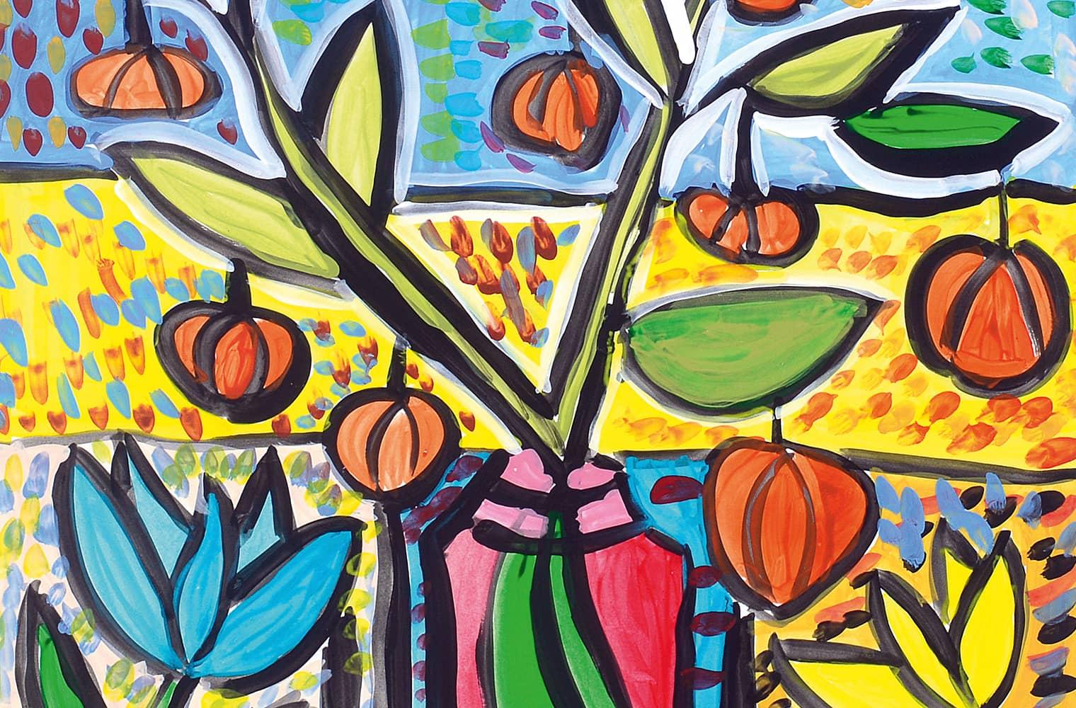 Die Farben Blau, Gelb, Orange und Grün dominieren das Bild. Florale Formen, die mit Schwarz umrandet und dann ausgemalt sind.