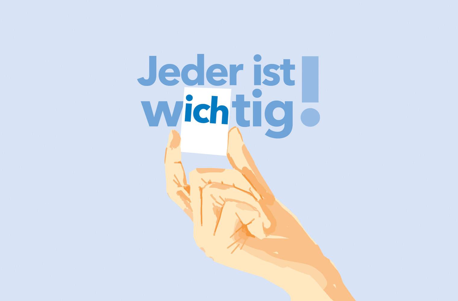 """Die Illustration von Eva-Maria Gugg zeigt eine Hand, die mit zwei Fingern in den Schriftzug """"Jeder ist wichtig"""" den Buchstabenteil """"ich"""" einfügt."""