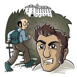 Die Karikatur zeigt ein Schloss hoch oben und unten am Berghang im Vordergrund das verärgerte Gesicht des rollstuhlfahrenden Grolls und weiter hint...