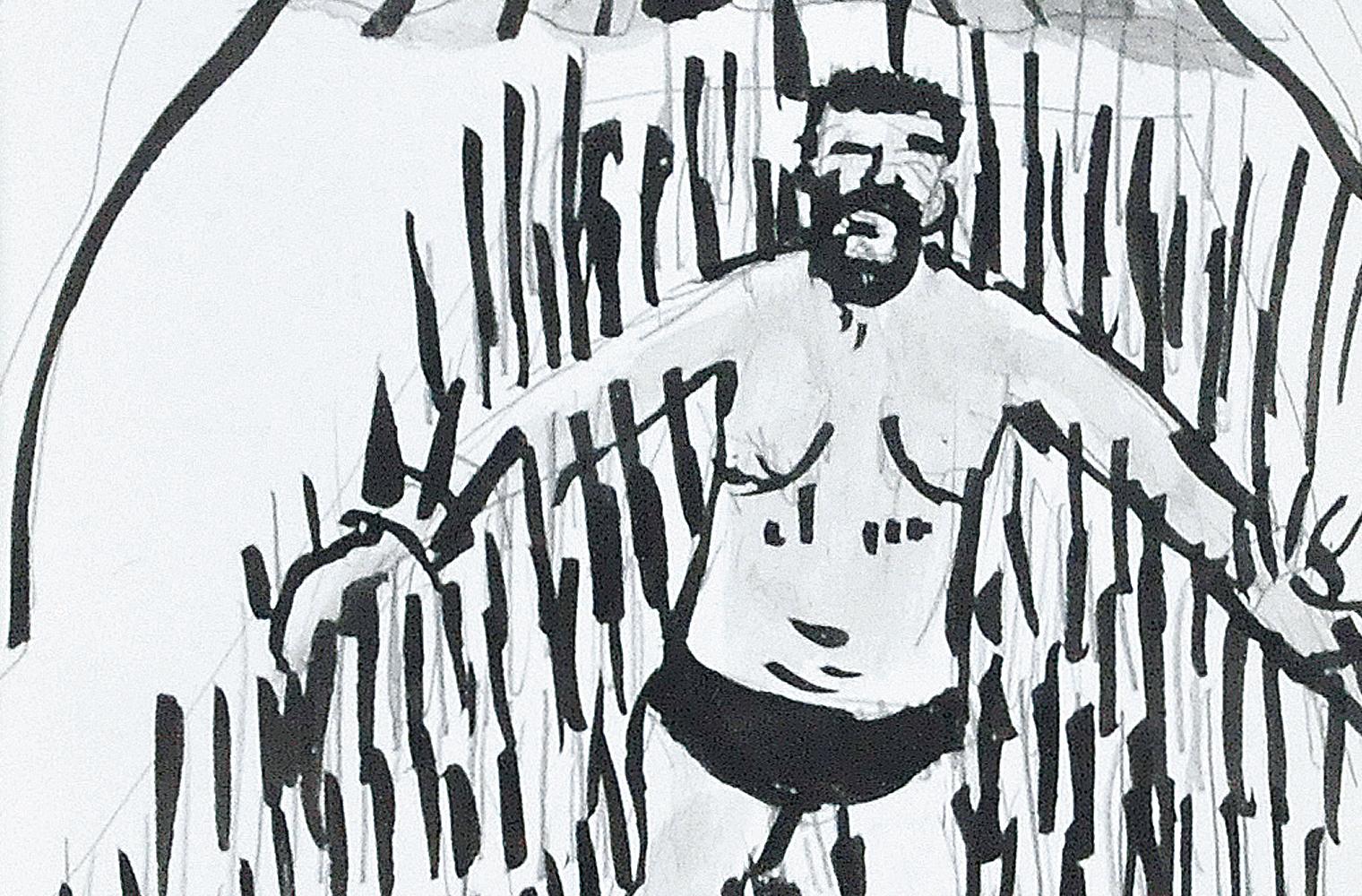 Die Schwarz-Weiß-Zeichnung zeigt einen bärtigen Mann. Er ist umgeben von vielen schwarzen Strichen, die wie Stacheln wirken.