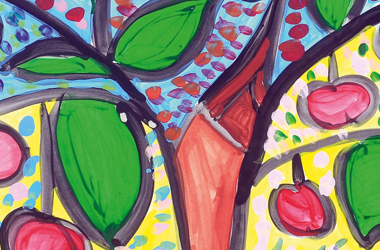 Ein Herbstbild, das durch seine Farbenvielfalt besticht. Es leuchtet in Grün, Gelb, Blau, Orange und Rot. Zu sehen sind Äpfel, Blätter und ein Stamm.