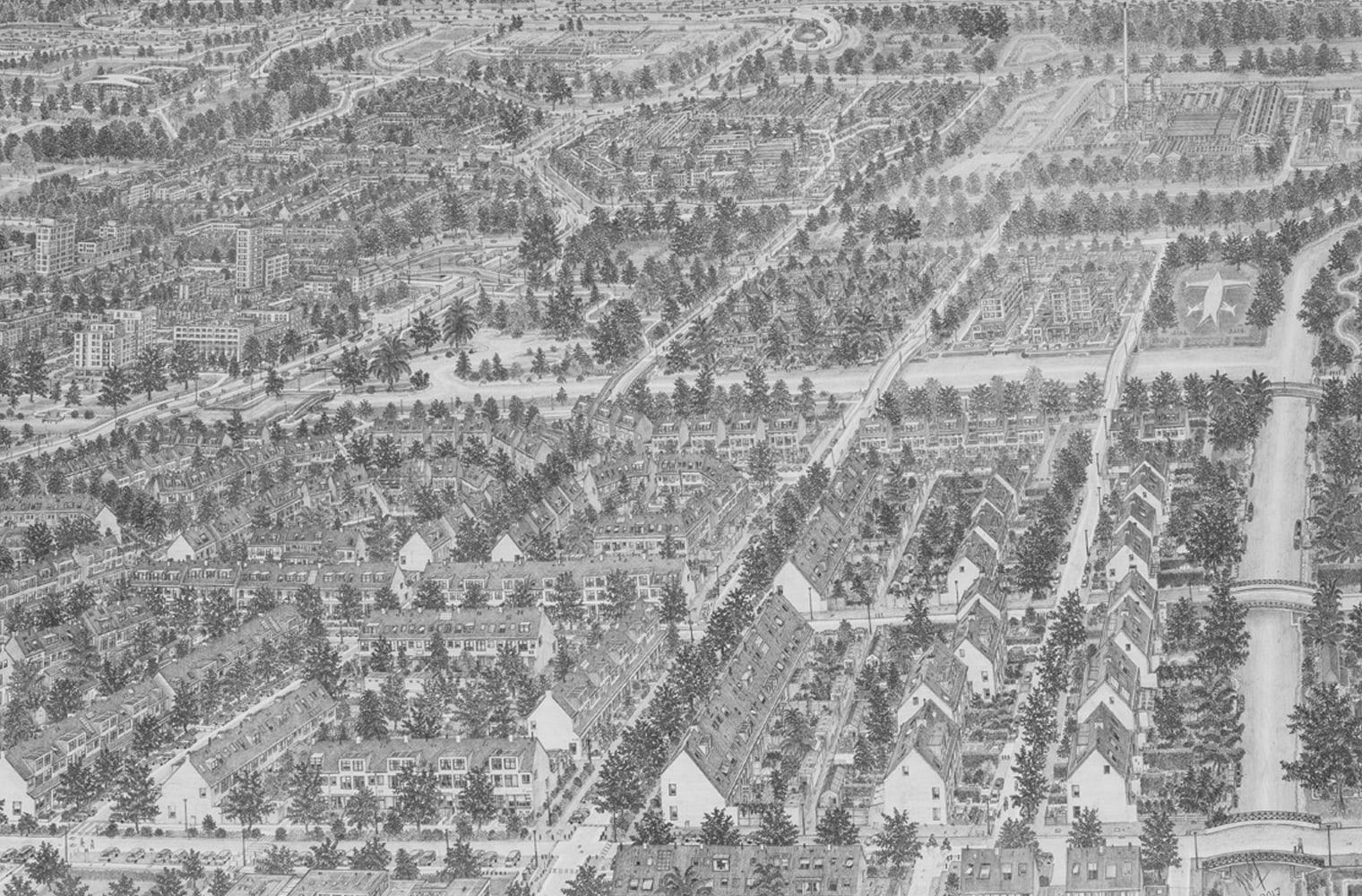 Eine feingliedrige detailreiche Graphitzeichnung zeigt eine Vorstadtlandschaft mit Wohnhäusern, Baumalleen, Straßen und einem Fluss.