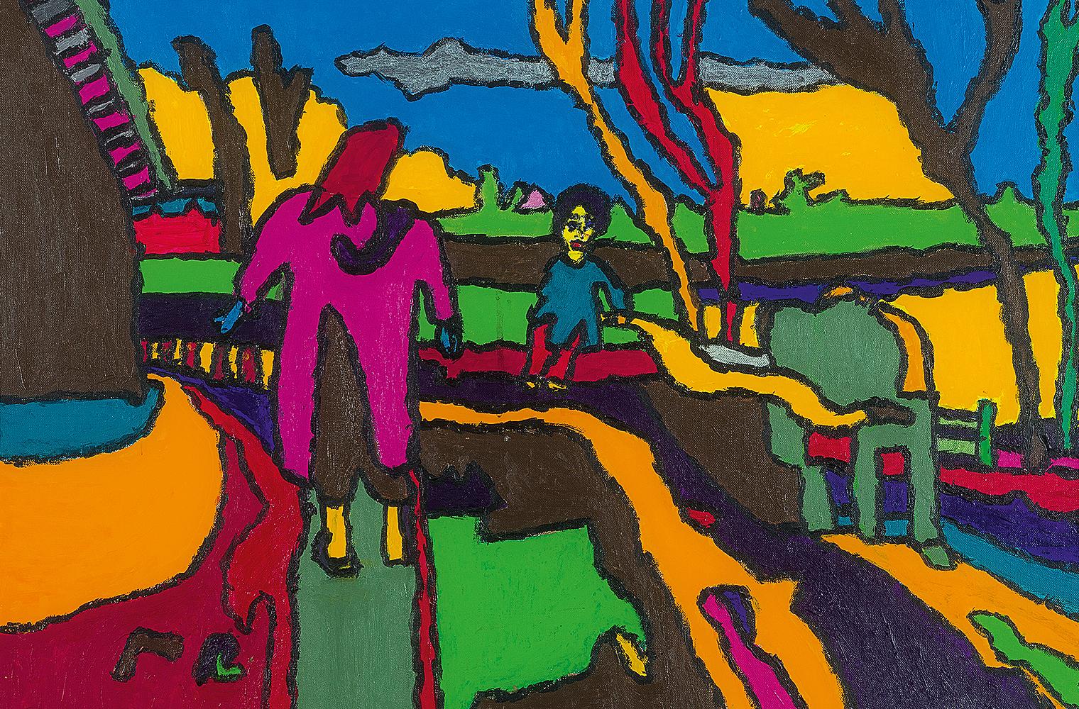 Farbenkräftige Landschaft mit zwei Figuren: Die kleinere Figur blickt den Betrachter an, die zweite ist von hinten zu sehen.