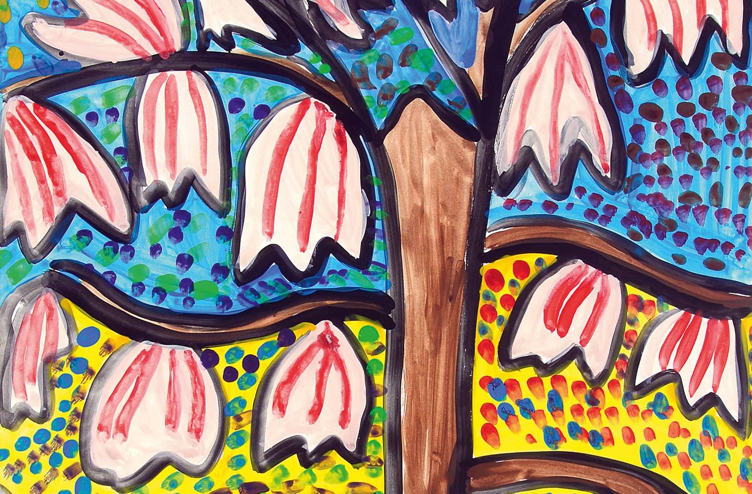 Florale Formen, die farbenfroh (gelb und blau) ausgeführt sind. Im Zentrum steht ein Magnolienbaum mit Stamm und Früchten.
