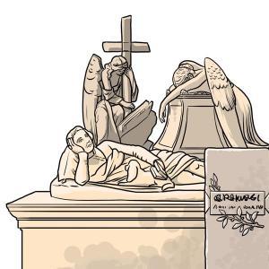 Karikatur von einem Grabstein am nichtkatholischen Friedhof  in Rom