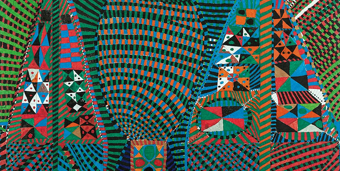 Kleinteilige, farbige Flächen, die sich aus baumartigen, spitzen und runden Formen zusammensetzen.