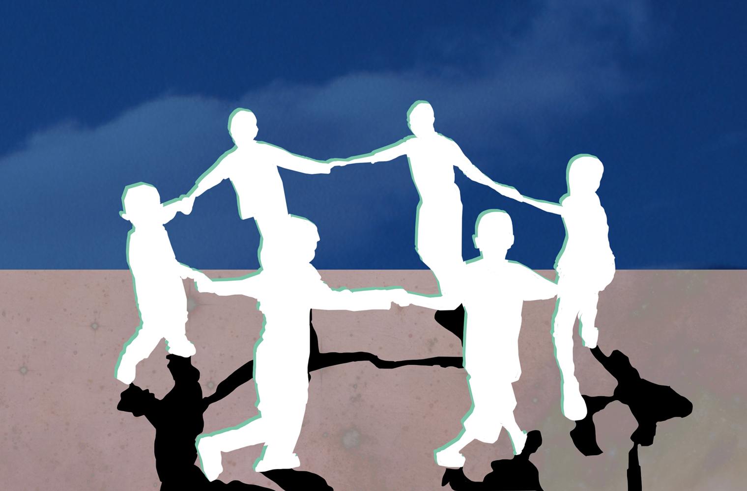 Stilisierte Ilustration: Sechs Kinder halten sich an den Händen und bilden einen Kreis. – Illustration: Eva-Maria Gugg