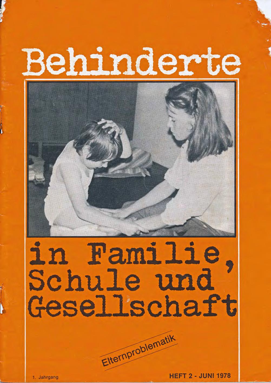 """Titelbild der Zeitschrift BEHINDERTE MENSCHEN, Ausgabe 2/1978 """"Elternproblematik"""""""