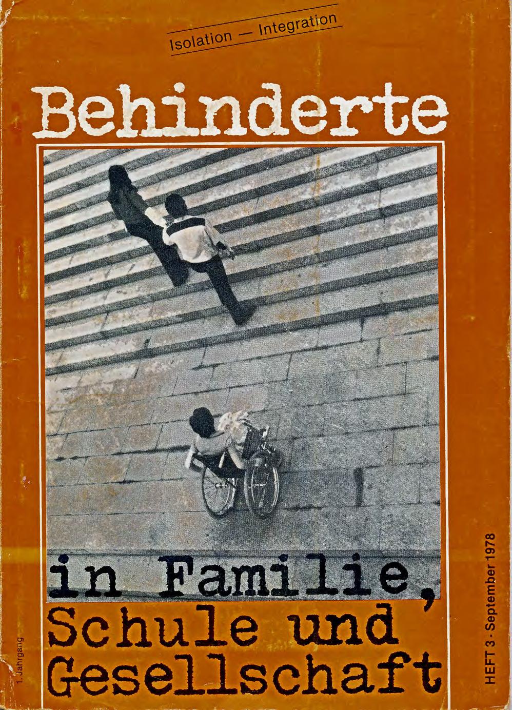"""Titelbild der Zeitschrift BEHINDERTE MENSCHEN, Ausgabe 3/1978 """"Isolation – Integration"""""""