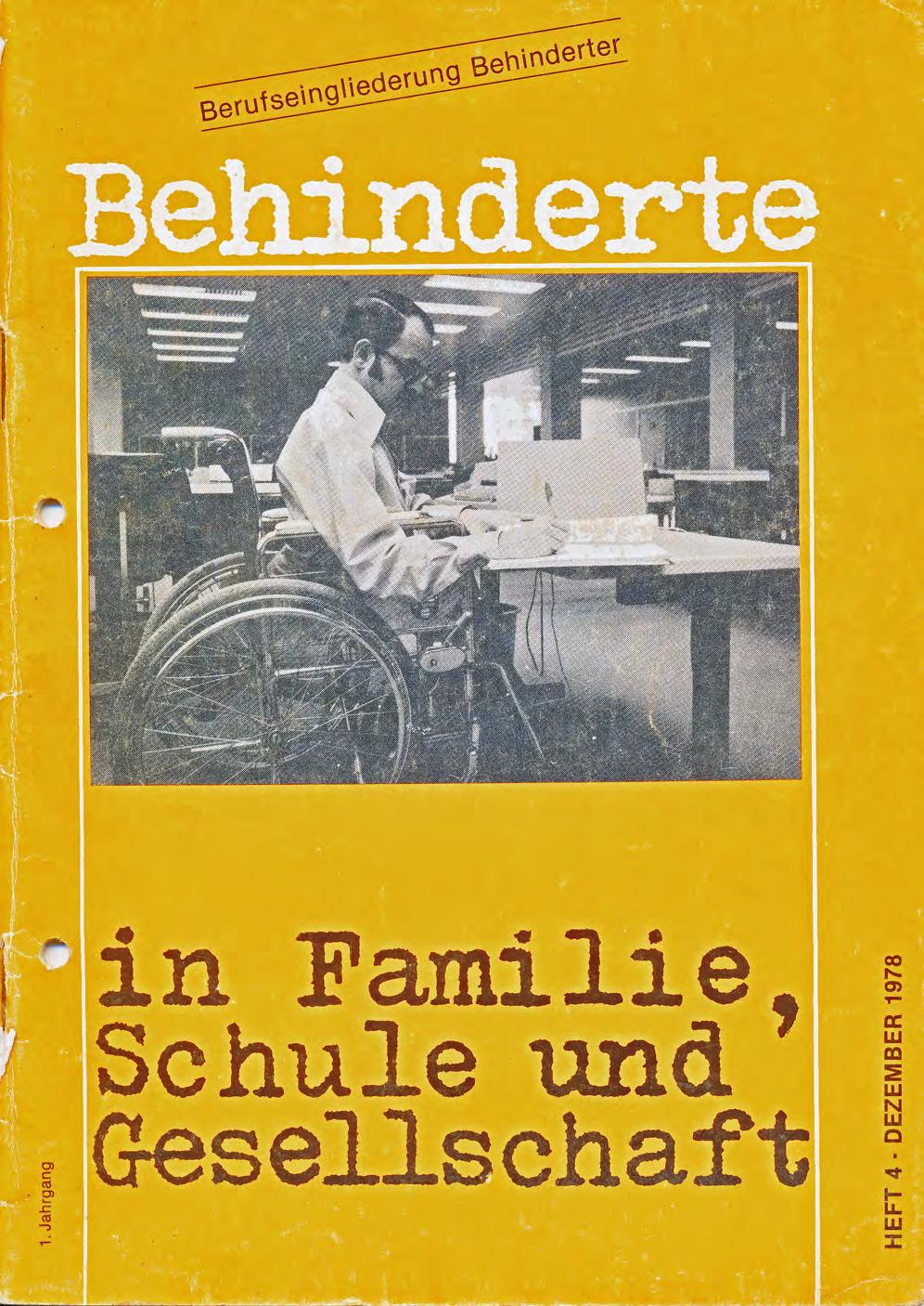 """Titelbild der Zeitschrift BEHINDERTE MENSCHEN, Ausgabe 4/1978 """"Berufseingliederung Behinderter"""""""