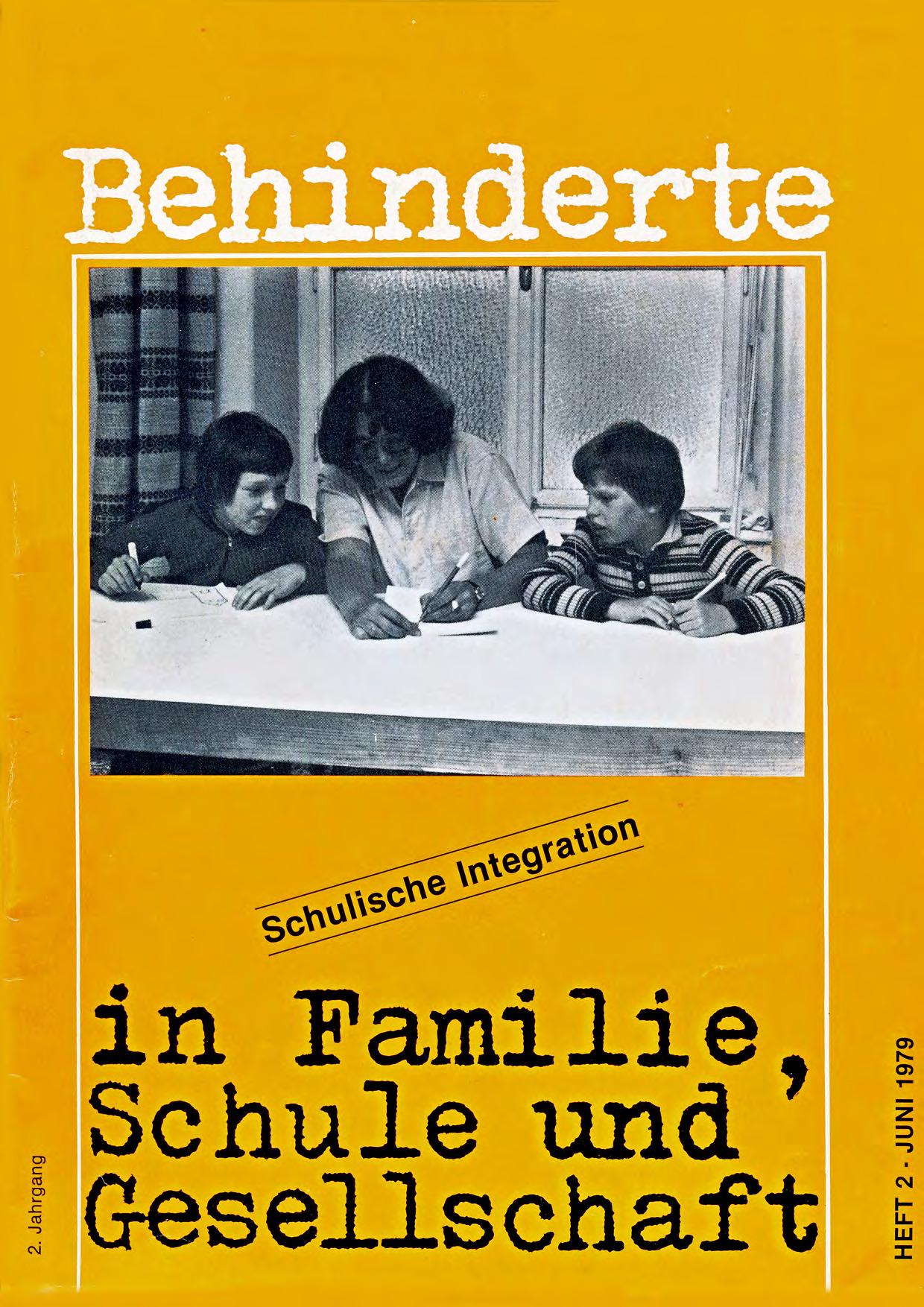 """Titelbild der Zeitschrift BEHINDERTE MENSCHEN, Ausgabe 2/1979 """"Schulische Integration"""""""