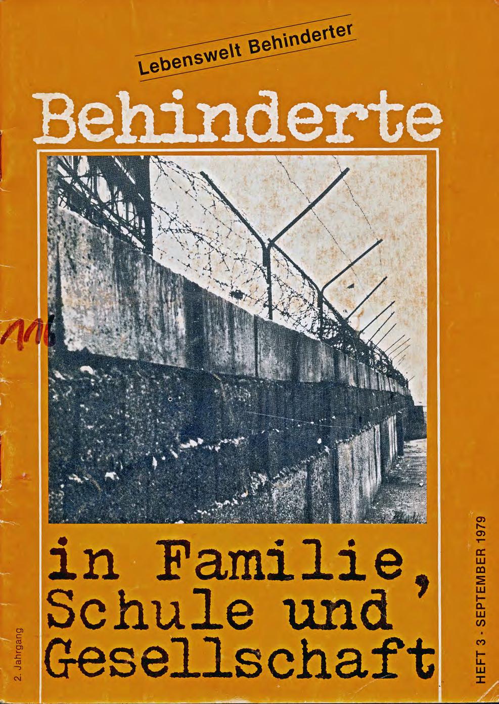 """Titelbild der Zeitschrift BEHINDERTE MENSCHEN, Ausgabe 3/1979 """"Lebenswelt Behinderter"""""""