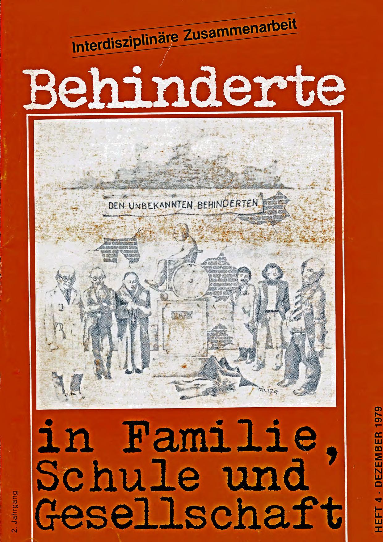 """Titelbild der Zeitschrift BEHINDERTE MENSCHEN, Ausgabe 4/1979 """"Interdisziplinäre Zusammenarbeit"""""""