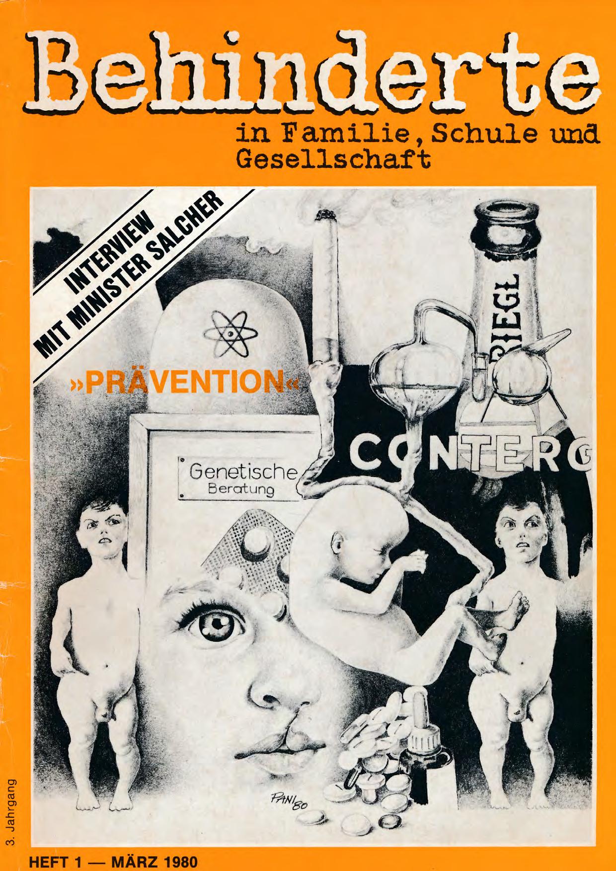 """Titelbild der Zeitschrift BEHINDERTE MENSCHEN, Ausgabe 1/1980 """"Prävention"""""""