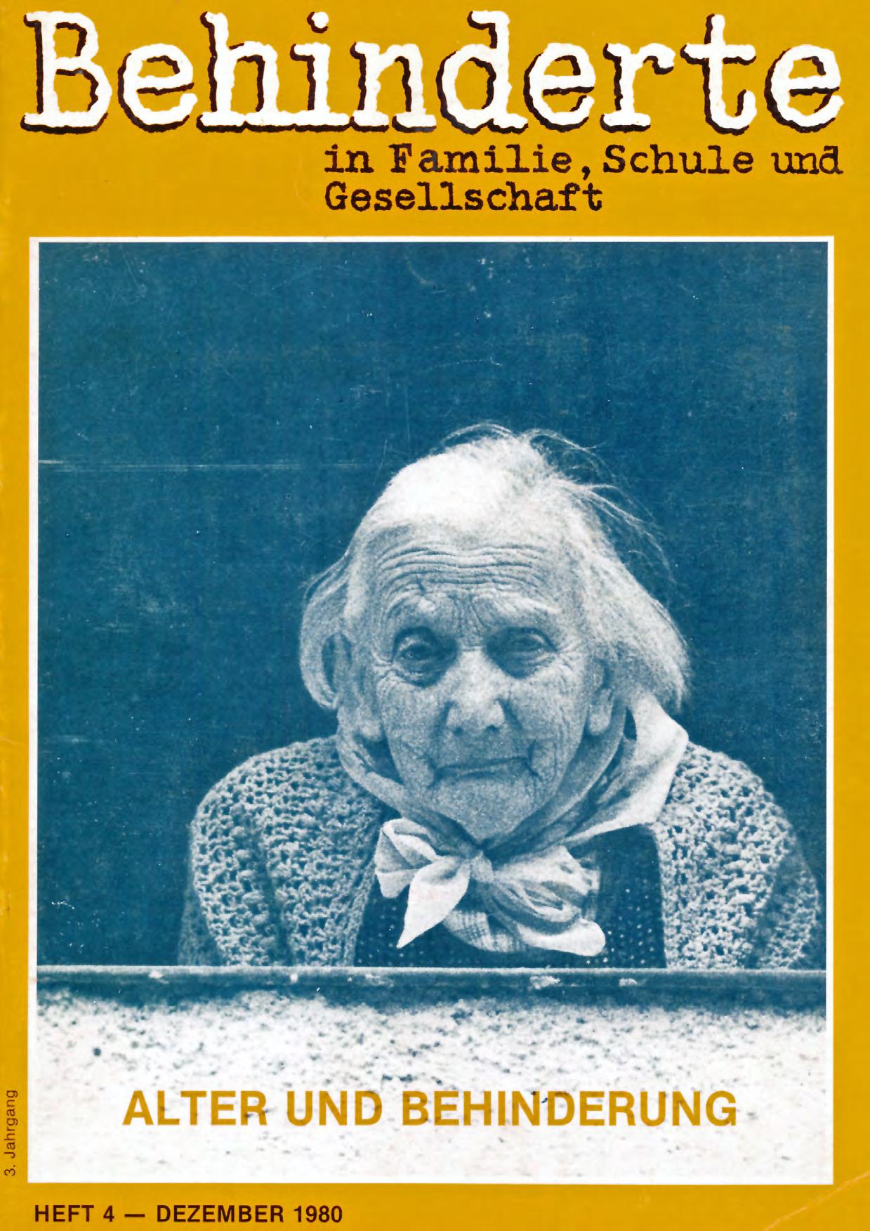 """Titelbild der Zeitschrift BEHINDERTE MENSCHEN, Ausgabe 4/1980 """"Alter und Behinderung"""""""