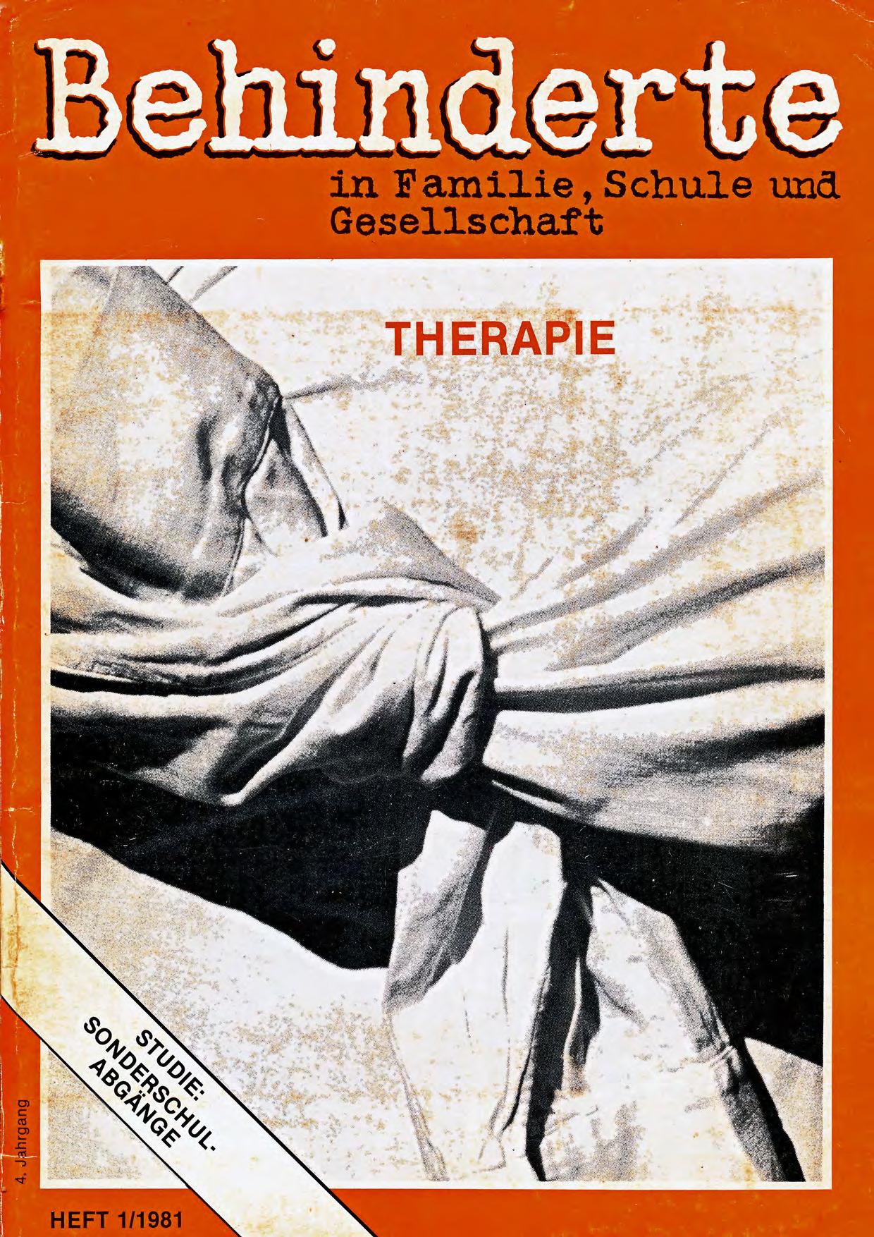 """Titelbild der Zeitschrift BEHINDERTE MENSCHEN, Ausgabe 1/1981 """"Therapie"""""""