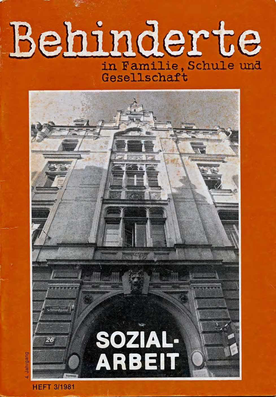 """Titelbild der Zeitschrift BEHINDERTE MENSCHEN, Ausgabe 3/1981 """"Sozialarbeit"""""""