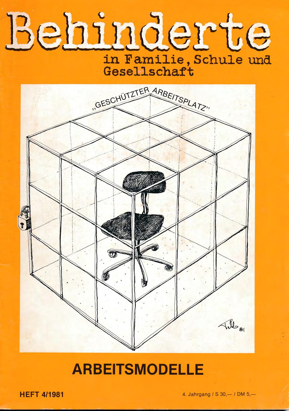 """Titelbild der Zeitschrift BEHINDERTE MENSCHEN, Ausgabe 4/1981 """"Arbeitsmodelle"""""""