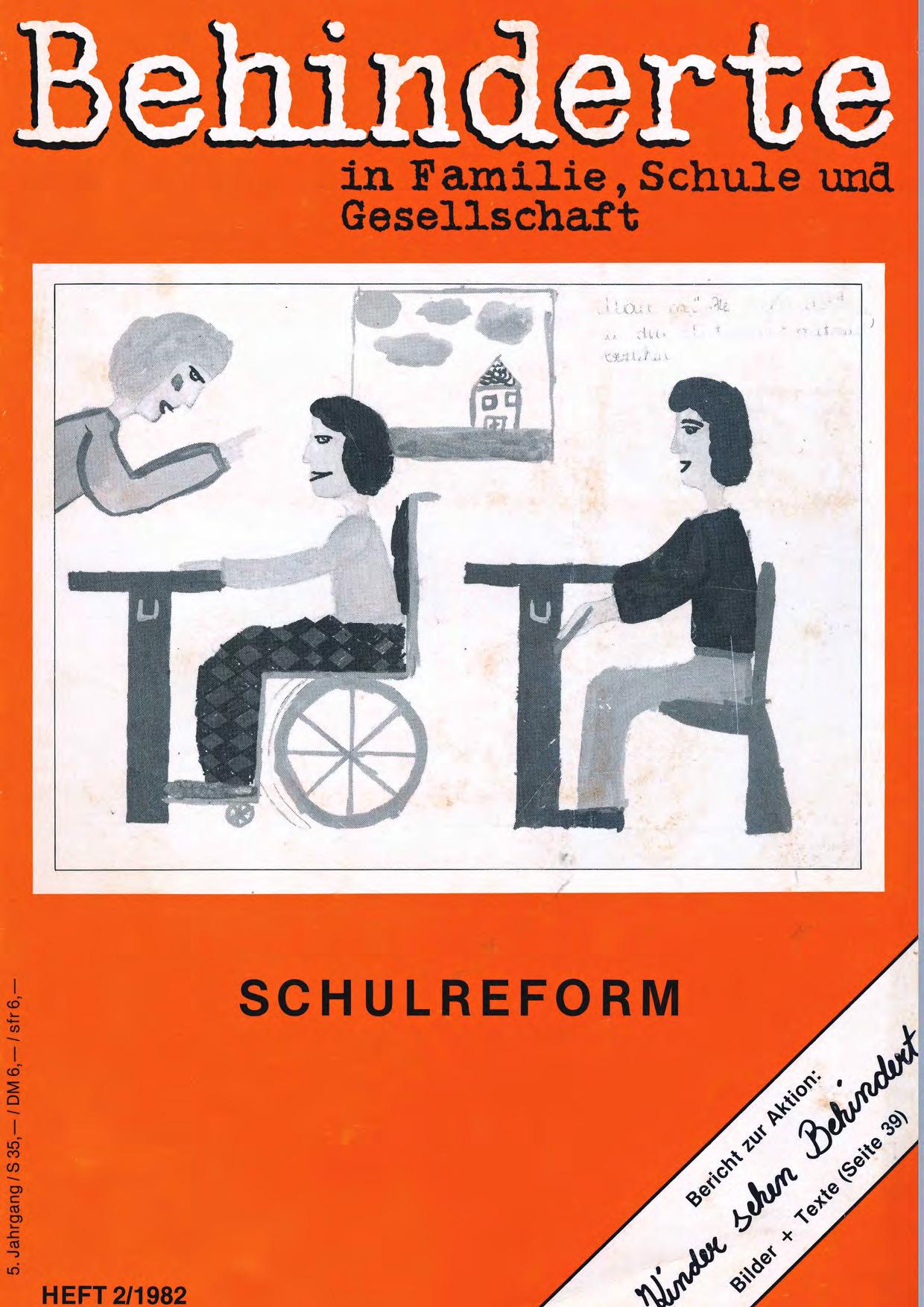 """Titelbild der Zeitschrift BEHINDERTE MENSCHEN, Ausgabe 2/1982 """"Schulreform"""""""
