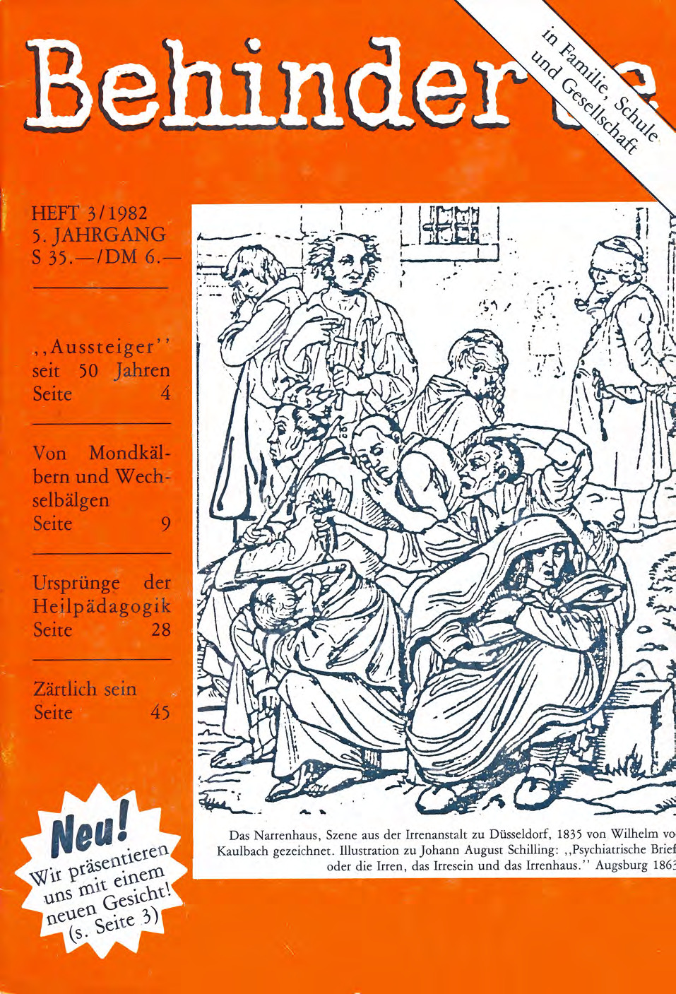 """Titelbild der Zeitschrift BEHINDERTE MENSCHEN, Ausgabe 3/1982 """"Behinderte"""""""