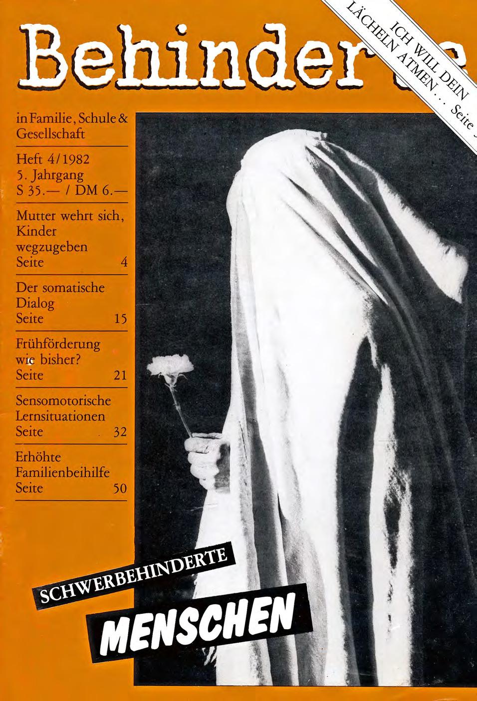 """Titelbild der Zeitschrift BEHINDERTE MENSCHEN, Ausgabe 4/1982 """"Schwerbehinderte Menschen"""""""