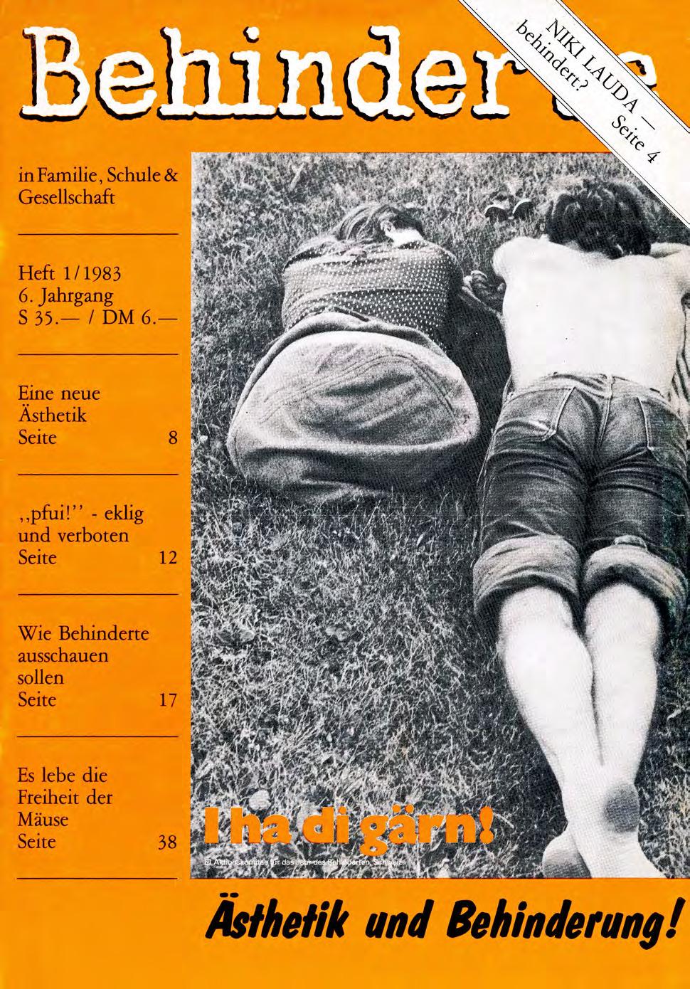"""Titelbild der Zeitschrift BEHINDERTE MENSCHEN, Ausgabe 1/1983 """"Ästhetik und Behinderung"""""""