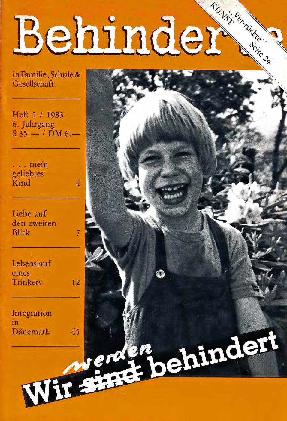 """Titelbild der Zeitschrift BEHINDERTE MENSCHEN, Ausgabe 2/1983 """"Wir werden behindert"""""""