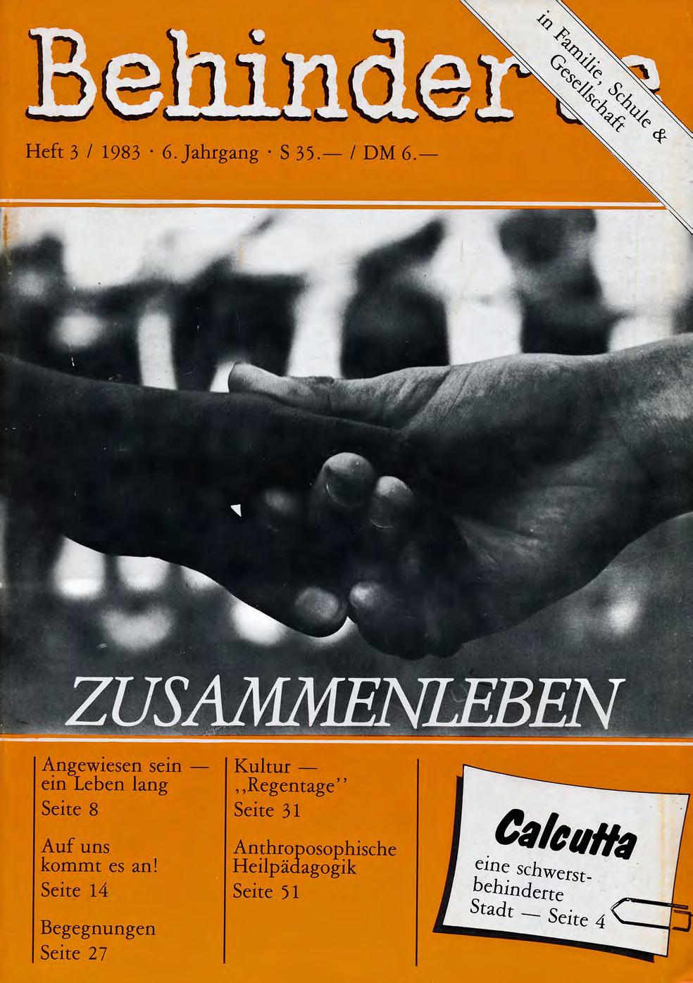 """Titelbild der Zeitschrift BEHINDERTE MENSCHEN, Ausgabe 3/1983 """"Zusammenleben"""""""