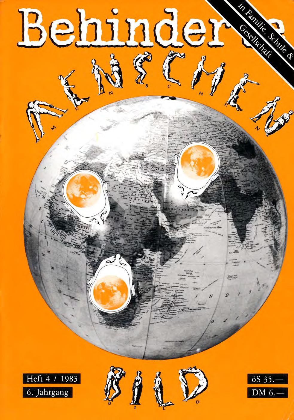 """Titelbild der Zeitschrift BEHINDERTE MENSCHEN, Ausgabe 4/1983 """"Menschenbild"""""""