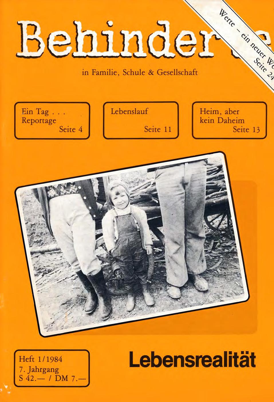 """Titelbild der Zeitschrift BEHINDERTE MENSCHEN, Ausgabe 1/1984 """"Lebensrealität"""""""