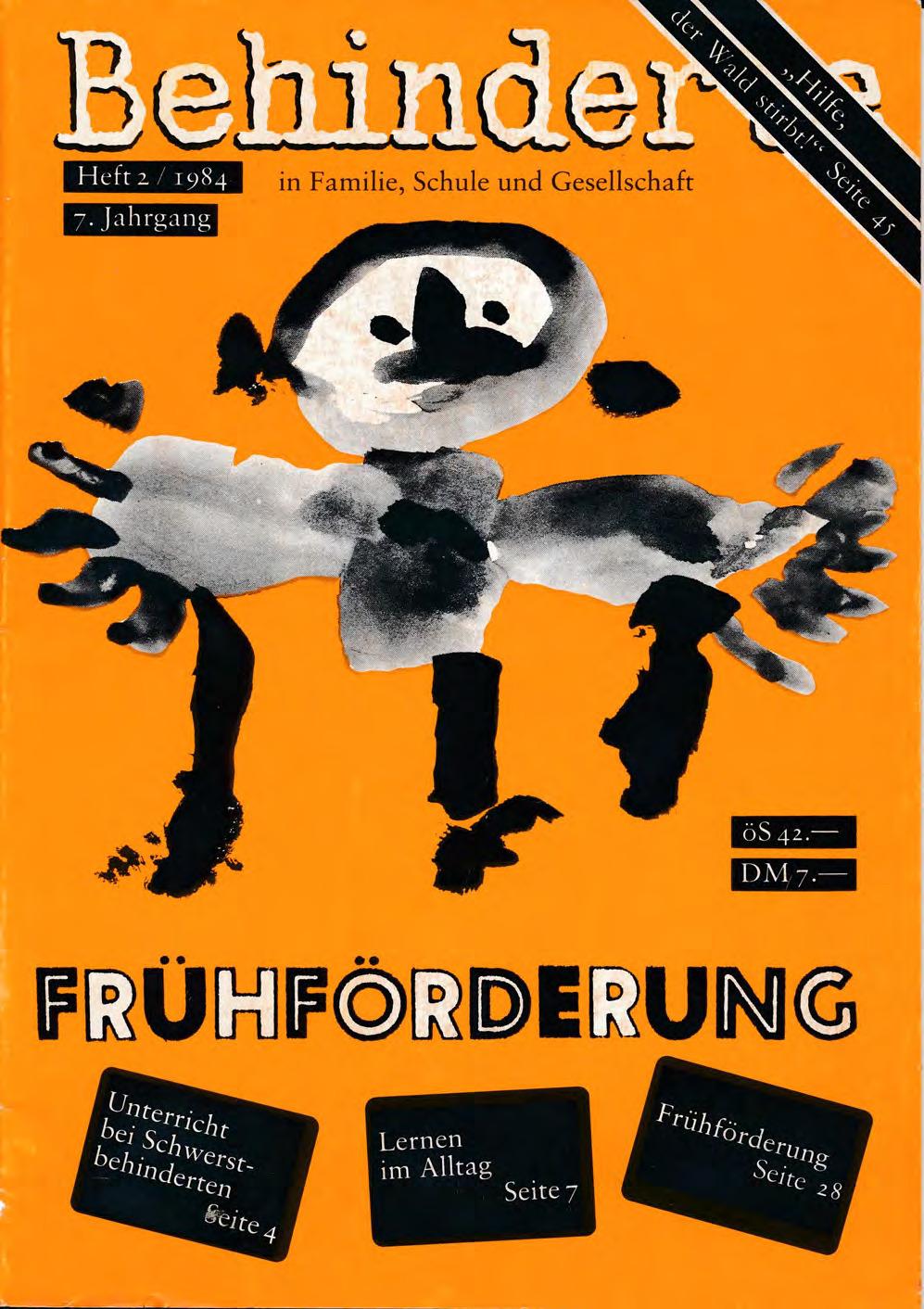 """Titelbild der Zeitschrift BEHINDERTE MENSCHEN, Ausgabe 2/1984 """"Frühförderung"""""""