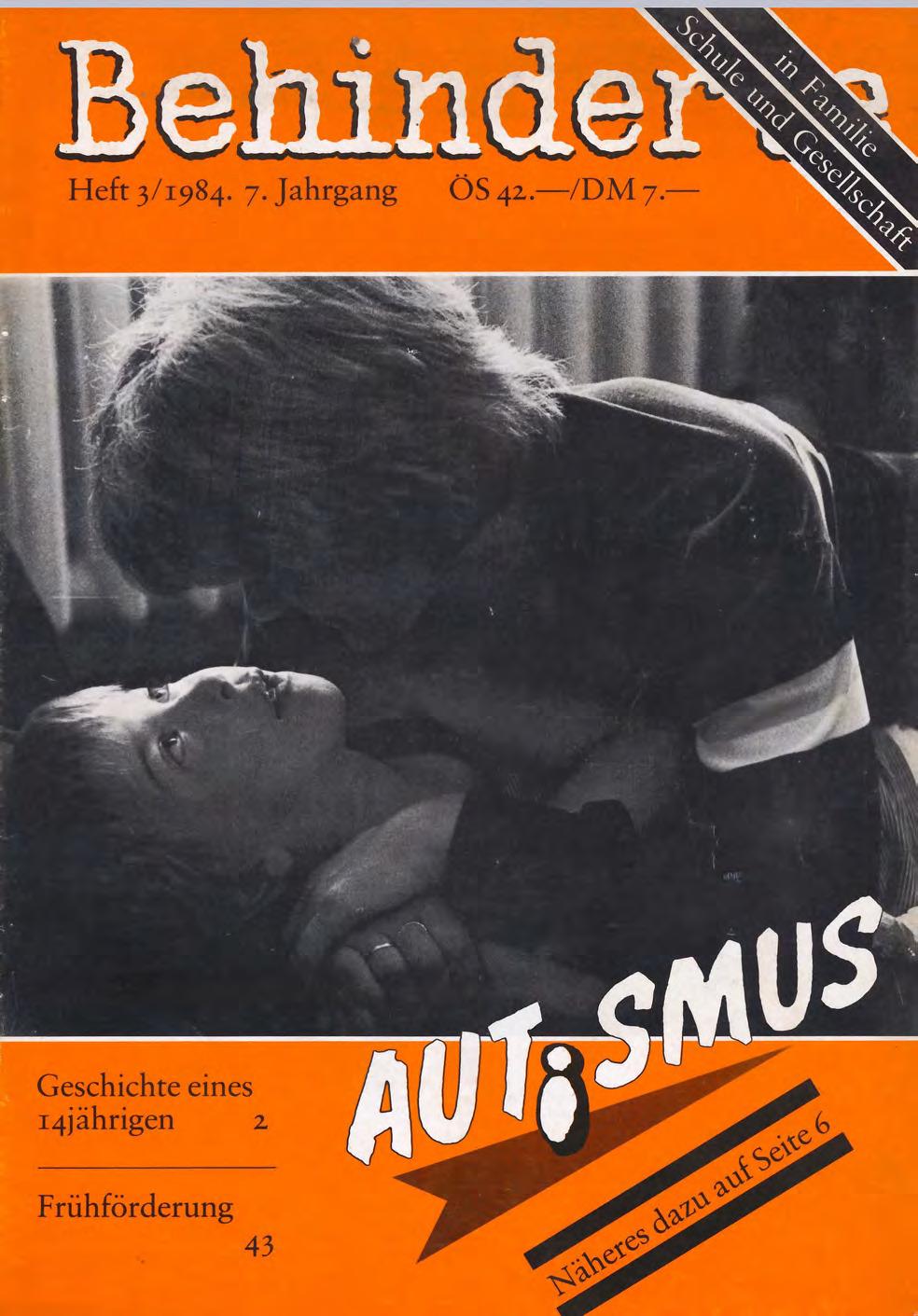 """Titelbild der Zeitschrift BEHINDERTE MENSCHEN, Ausgabe 3/1984 """"Autismus"""""""