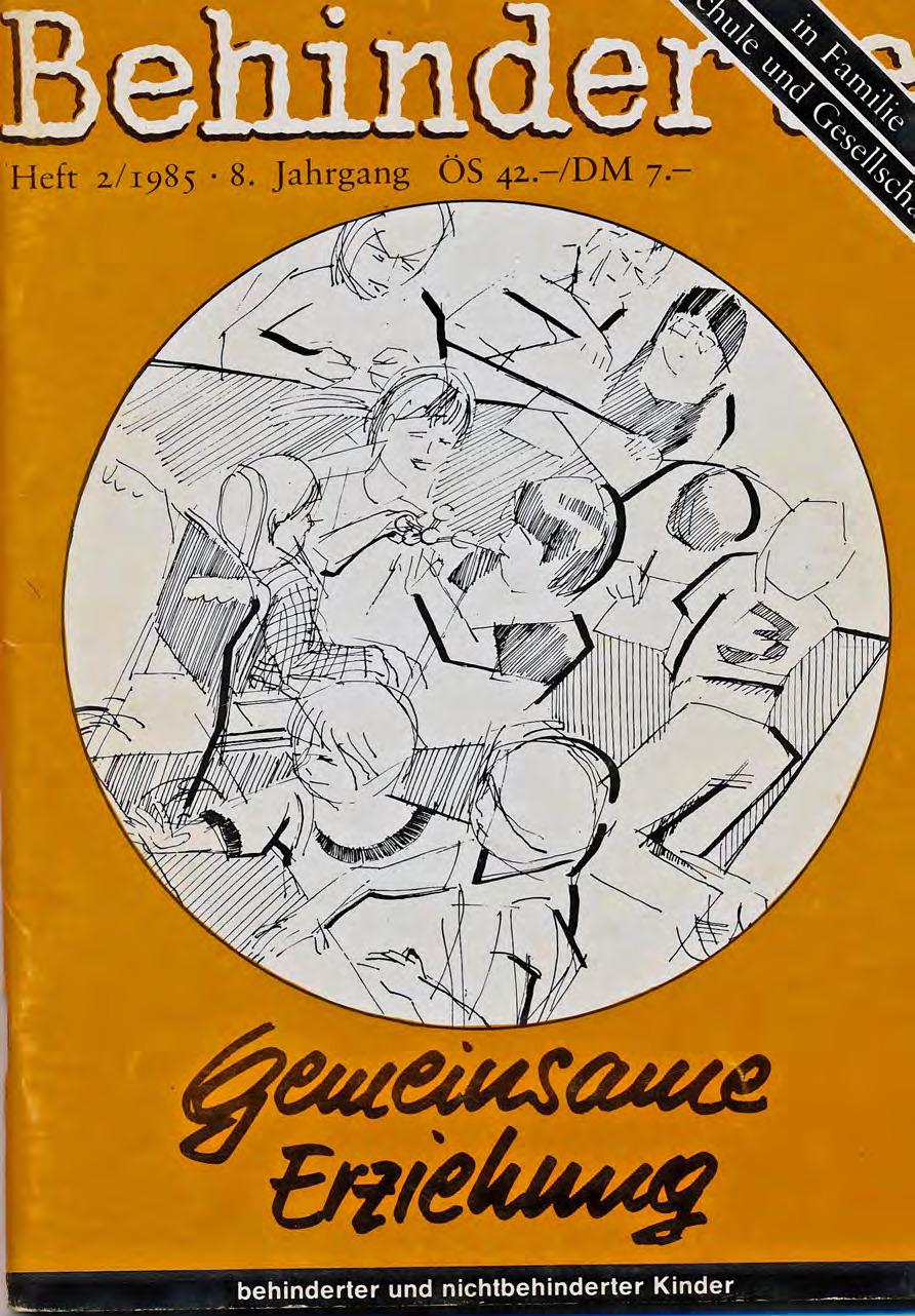 """Titelbild der Zeitschrift BEHINDERTE MENSCHEN, Ausgabe 2/1985 """"Gemeinsame Erziehung"""""""