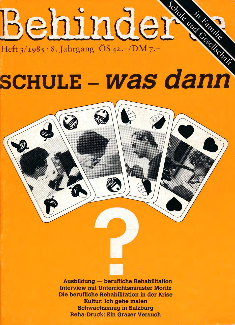 """Titelbild der Zeitschrift BEHINDERTE MENSCHEN, Ausgabe 3/1985 """"Schule – was ist das?"""""""