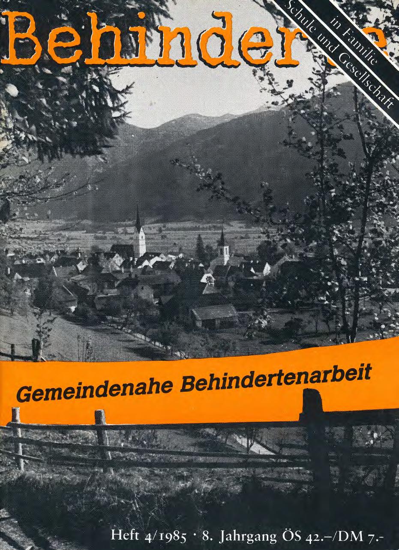 """Titelbild der Zeitschrift BEHINDERTE MENSCHEN, Ausgabe 4/1985 """"Gemeindenahe Behindertenarbeit"""""""