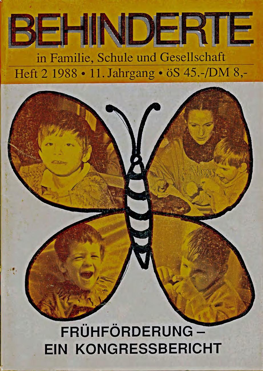 """Titelbild der Zeitschrift BEHINDERTE MENSCHEN, Ausgabe 2/1988 """"Frühförderung – Ein Kongressbericht"""""""