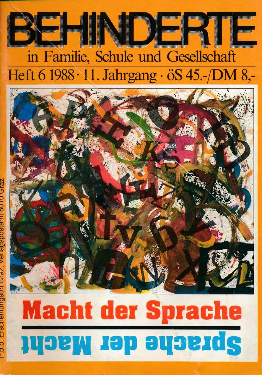 """Titelbild der Zeitschrift BEHINDERTE MENSCHEN, Ausgabe 6/1988 """"Macht der Sprache"""""""