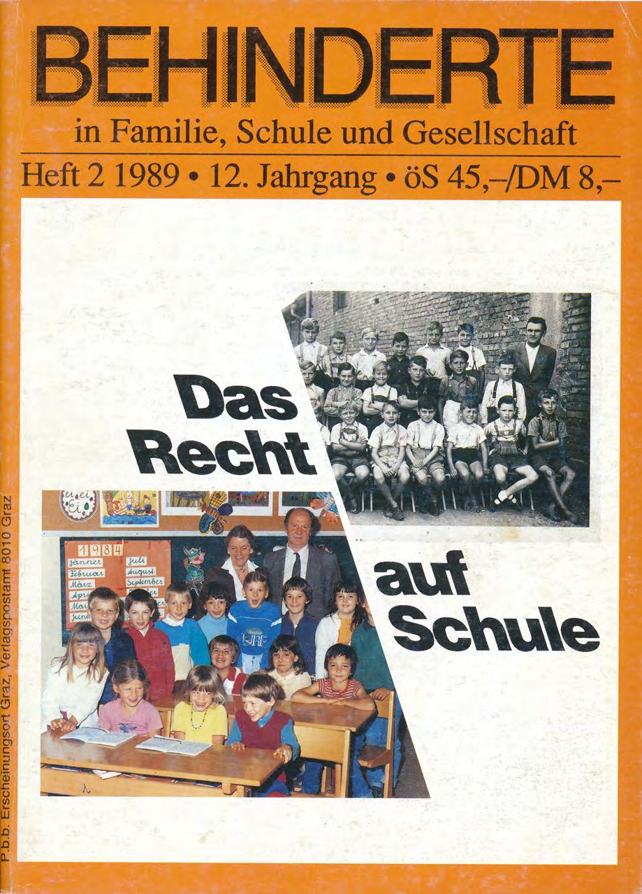 """Titelbild der Zeitschrift BEHINDERTE MENSCHEN, Ausgabe 2/1989 """"Das Recht auf Schule"""""""