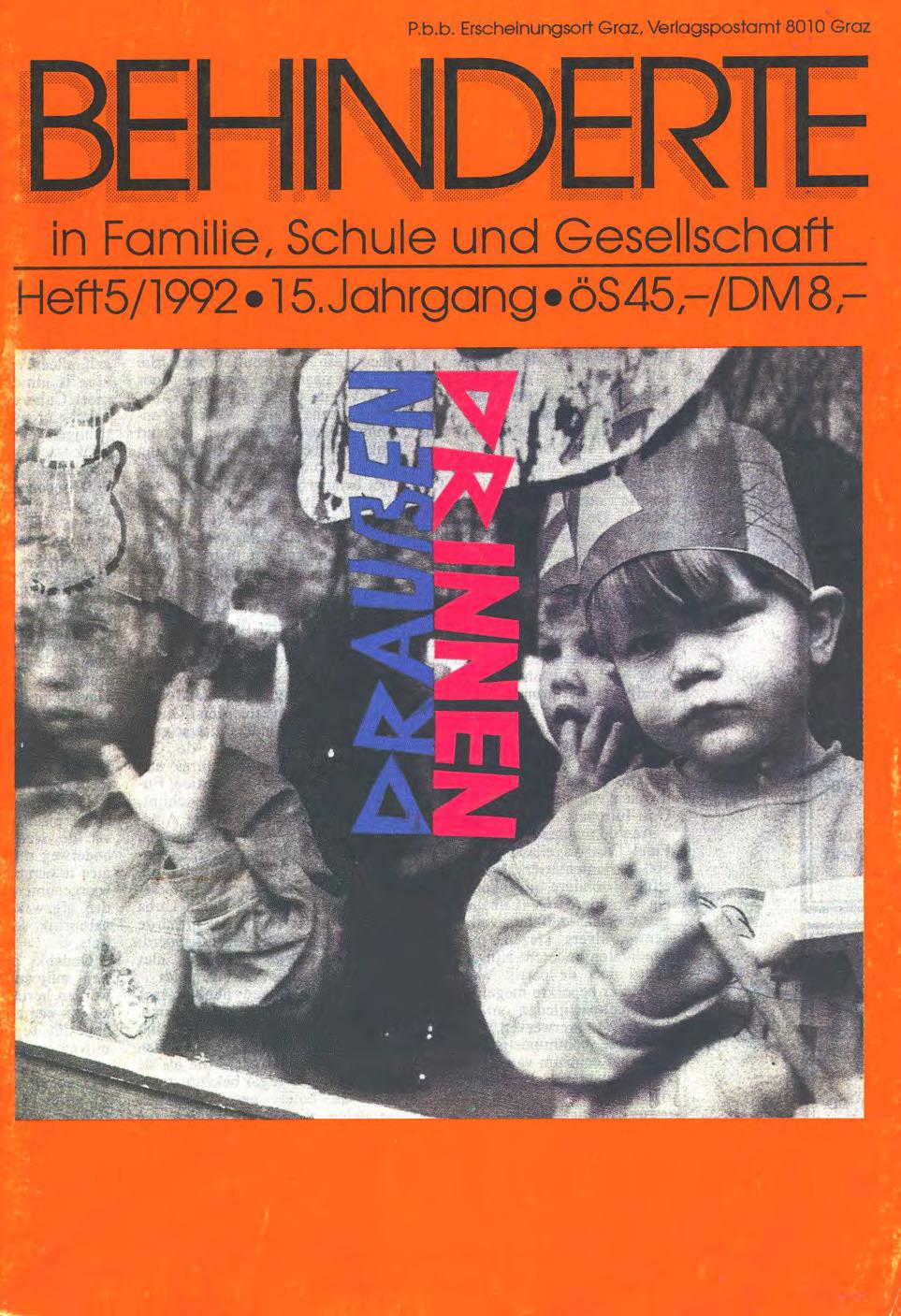 """Titelbild der Zeitschrift BEHINDERTE MENSCHEN, Ausgabe 5/1992 """"Draußen – Drinnen"""""""