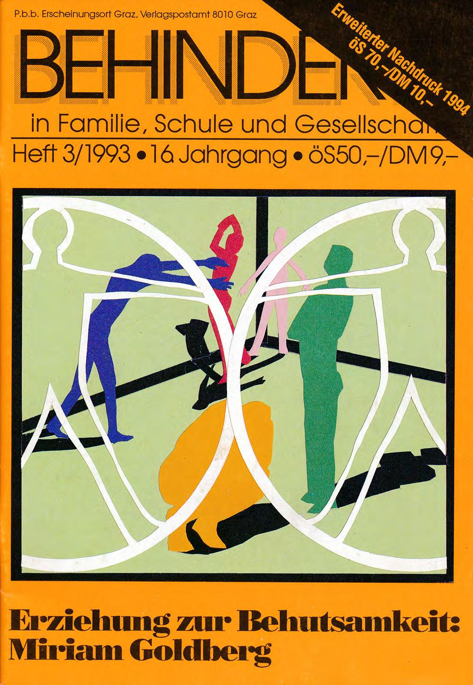 """Titelbild der Zeitschrift BEHINDERTE MENSCHEN, Ausgabe 3/1993 """"Erziehung zur Behutsamkeit: Mariam Goldberg"""""""