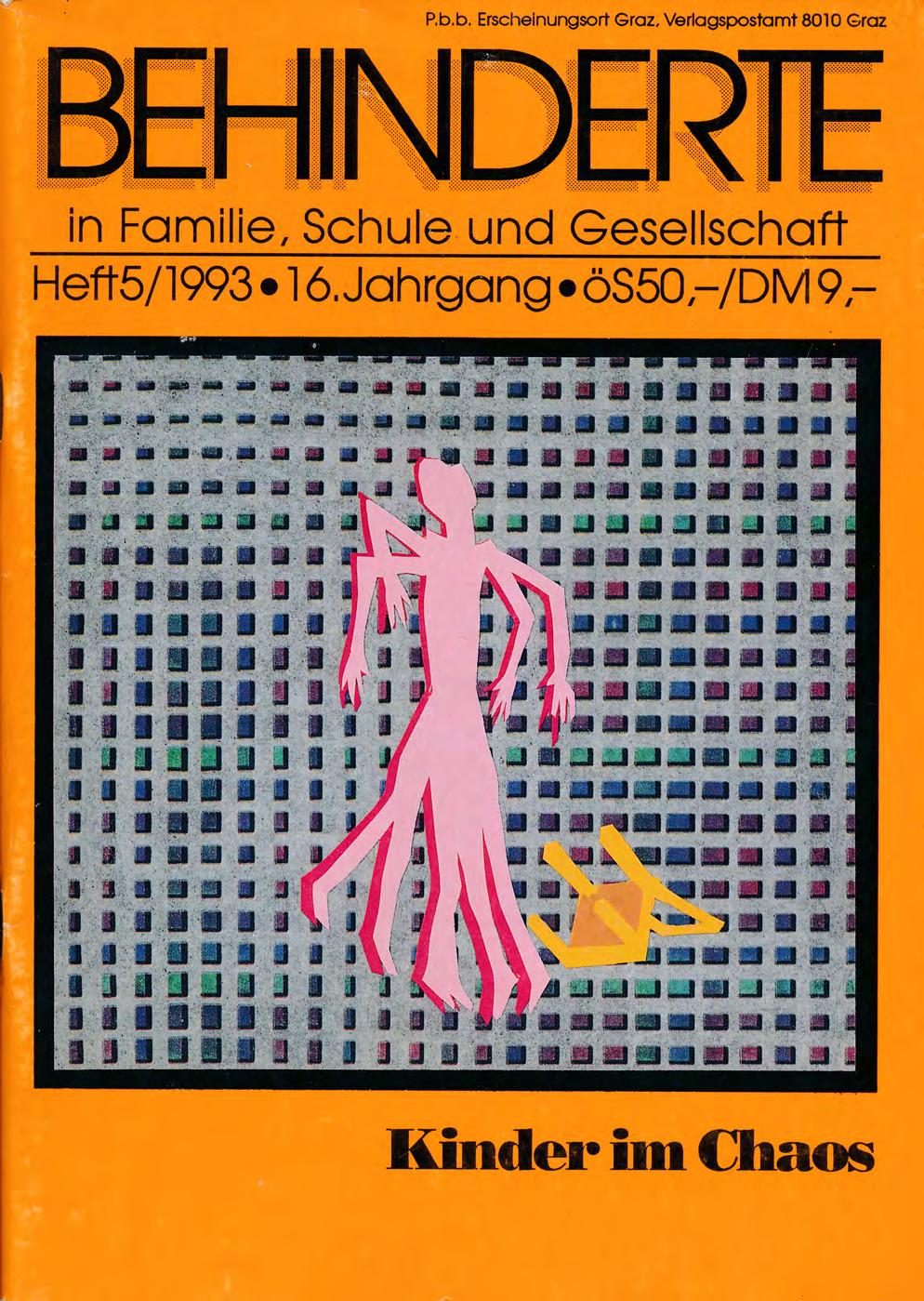 """Titelbild der Zeitschrift BEHINDERTE MENSCHEN, Ausgabe 5/1993 """"Kinder im Chaos"""""""