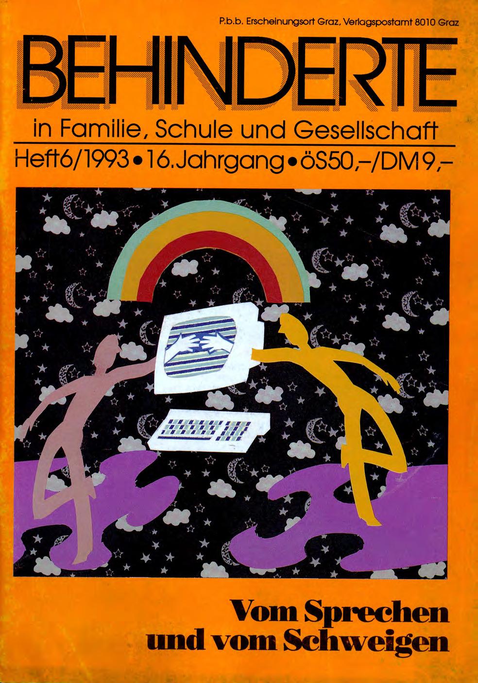 """Titelbild der Zeitschrift BEHINDERTE MENSCHEN, Ausgabe 6/1993 """"Vom Sprechen und vom Schweigen"""""""