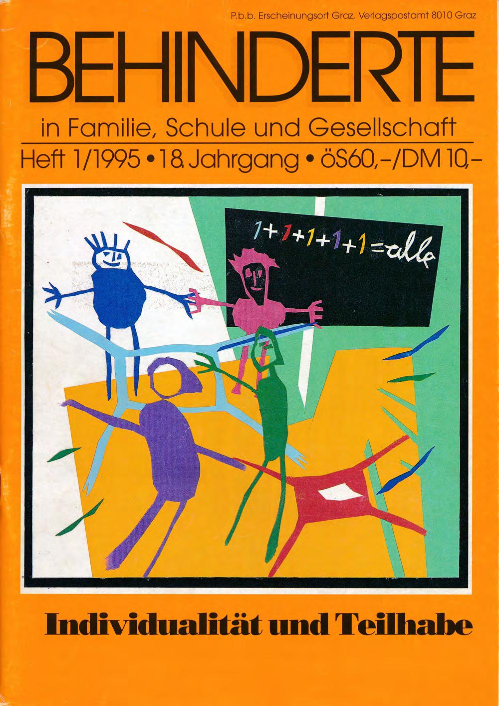 """Titelbild der Zeitschrift BEHINDERTE MENSCHEN, Ausgabe 1/1995 """"Individualität und Teilhabe"""""""