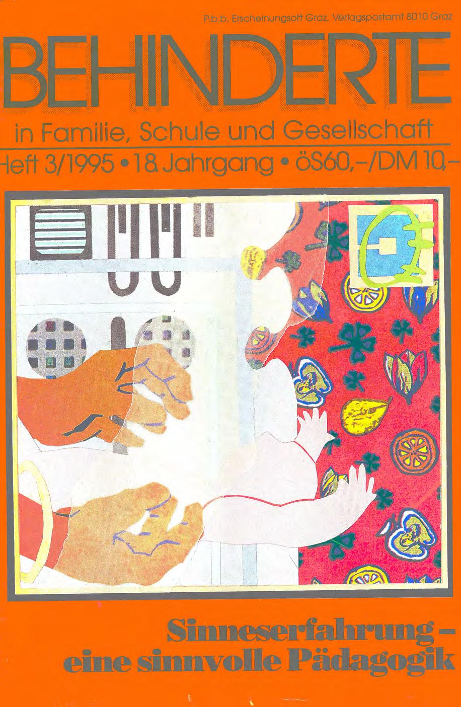 """Titelbild der Zeitschrift BEHINDERTE MENSCHEN, Ausgabe 3/1995 """"Sinneserfahrung – eine sinnvolle Pädagogik"""""""