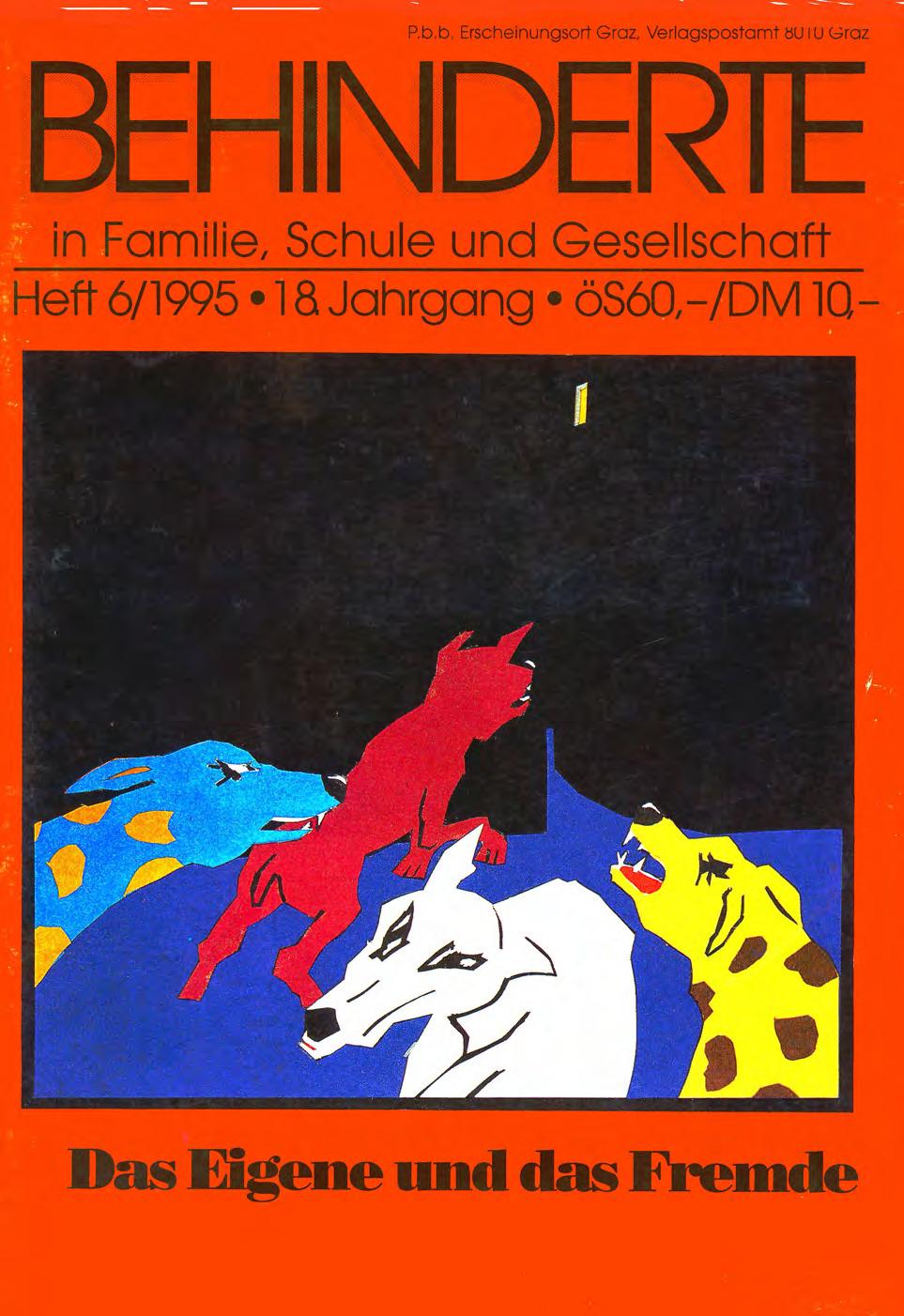 """Titelbild der Zeitschrift BEHINDERTE MENSCHEN, Ausgabe 6/1995 """"Das Eigene und das Fremde"""""""