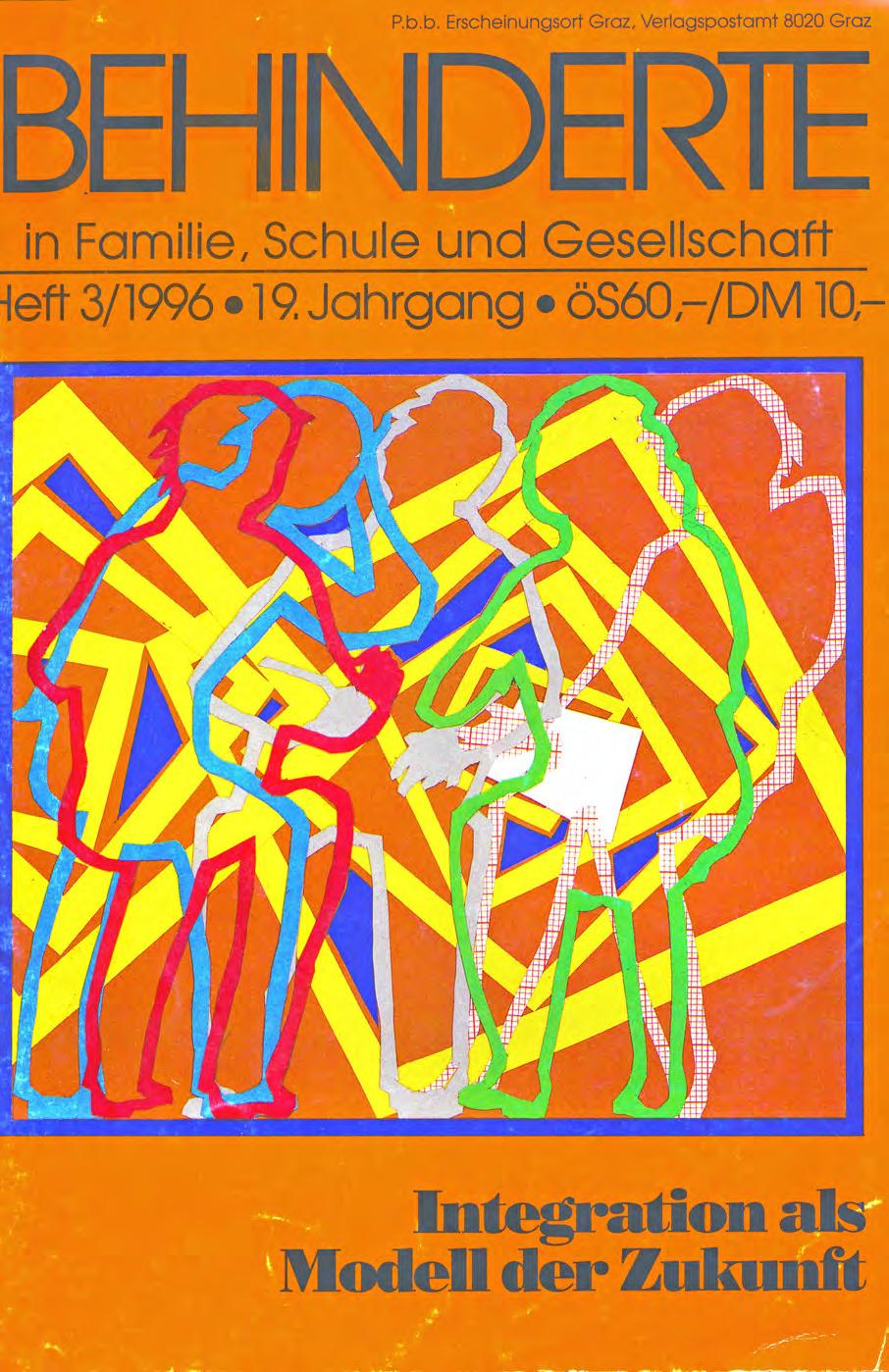 """Titelbild der Zeitschrift BEHINDERTE MENSCHEN, Ausgabe 3/1996 """"Integration als Modell der Zukunft"""""""