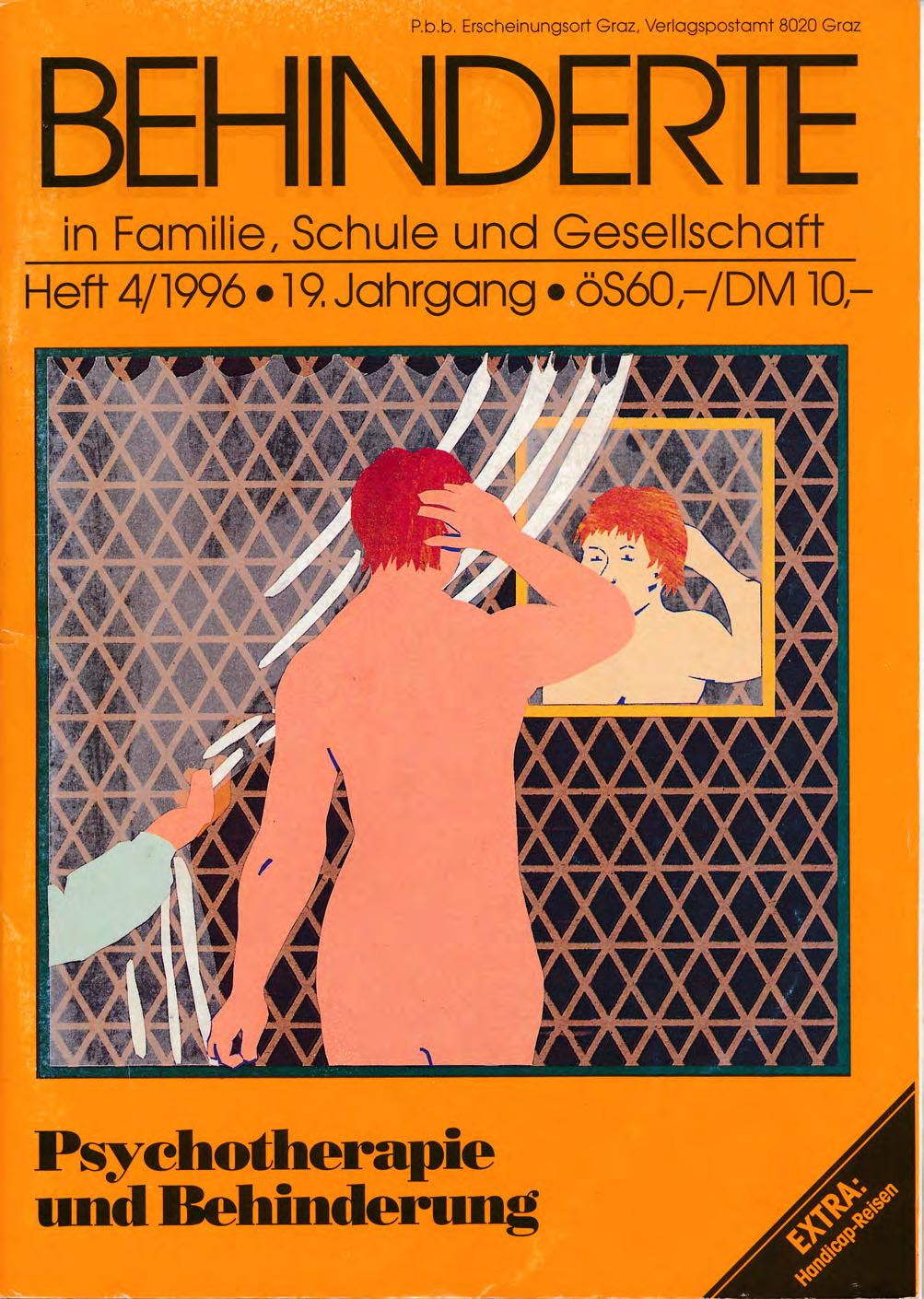 """Titelbild der Zeitschrift BEHINDERTE MENSCHEN, Ausgabe 4/1996 """"Psychotherapie und Behinderung"""""""