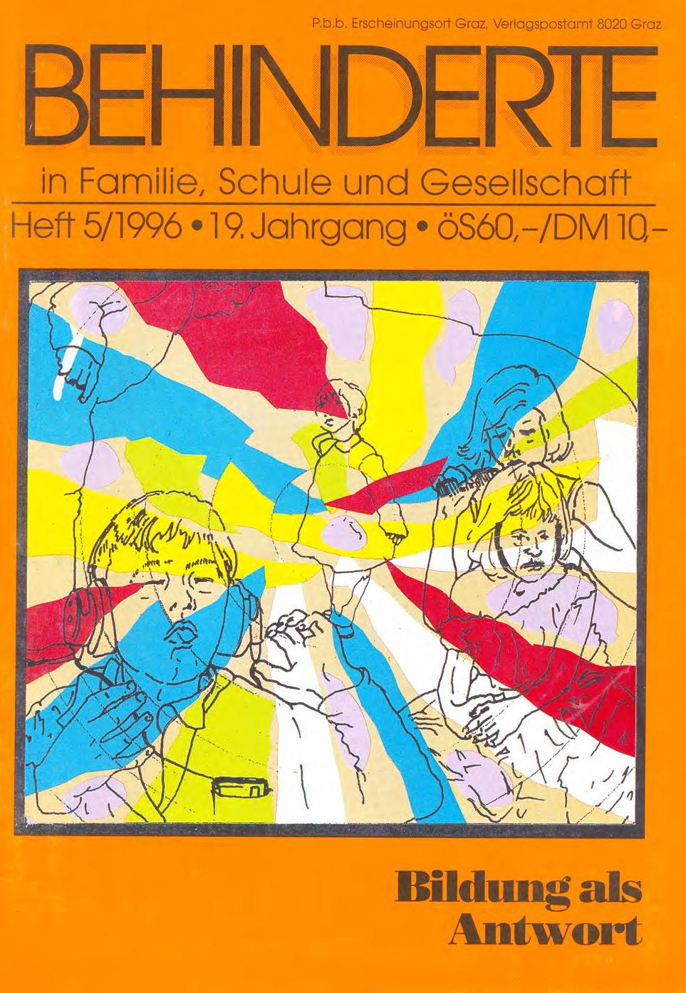 """Titelbild der Zeitschrift BEHINDERTE MENSCHEN, Ausgabe 5/1996 """"Bildung als Antwort"""""""
