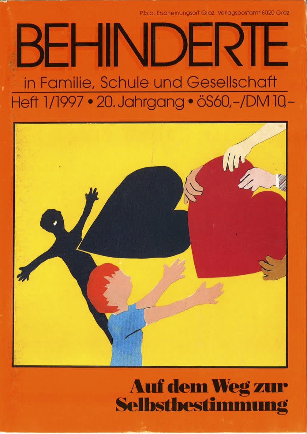 """Titelbild der Zeitschrift BEHINDERTE MENSCHEN, Ausgabe 1/1997 """"Auf dem Weg zur Selbstbestimmung"""""""